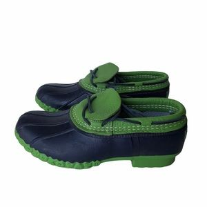 L.L Bean Blue & Green Nubuck Rubber Moc Boots
